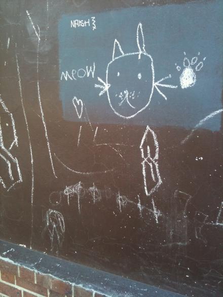 Cat Chalk Graffiti Drawn Paw Print Hobart
