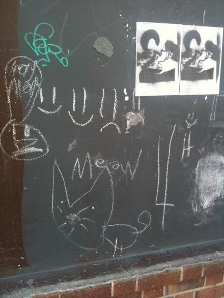 Cat Chalk Graffiti Kissing Posters