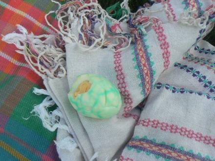 Easter Dyed Egg Picnic Half Eaten