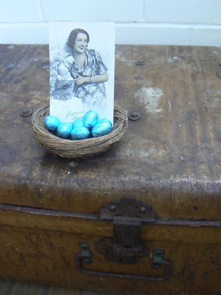 Easter Vintage French Postcard Old Trunk Nest