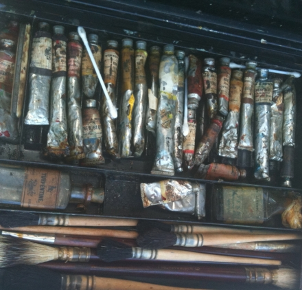 Old Artist Box Interior Paints and Brushes
