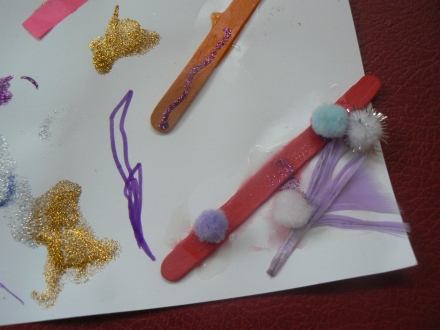 Stuck Glitter Paint Glue Pop Stick Child Art