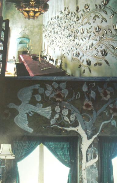 Great Walls Dining Table Helgas Folly Bird Tree Mural