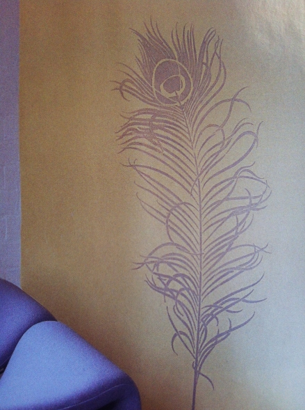 Peacock Feather Wall Stencil Decal Design