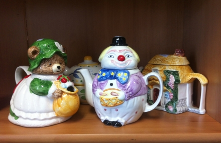 Teapot Collection Bear Clown House Tea Pot Thrift Store