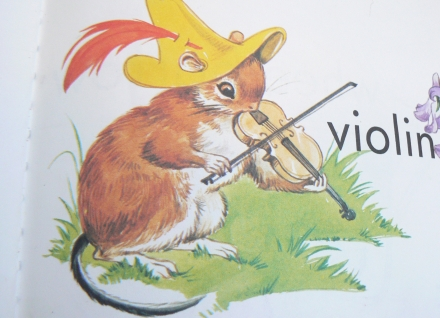 Wild Things Vintage Animal Violin Illustration