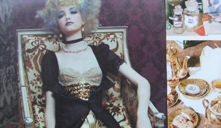 Gold Vintage Tea Set Pants Sequins Brocade Chair