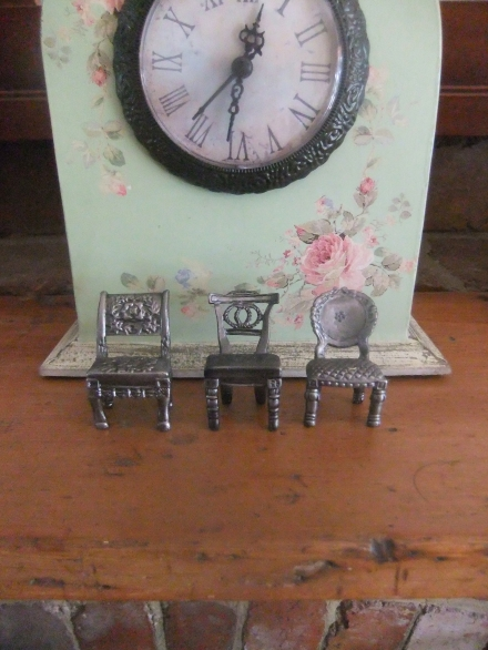 Home Mantel Clock Miniature Chairs Shabby Pretty