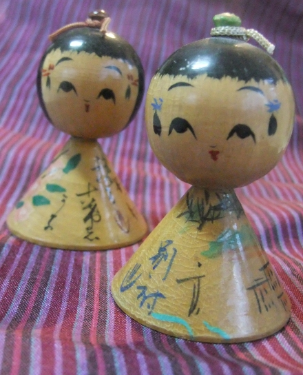 Ningyo Kuyo Kokeshi Two Bobble Head Dolls Japan