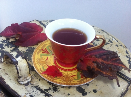 Rooibos Vanilla Chai Autumn Fall Leaves Vintage Drum Teacup