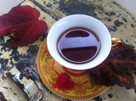 Rooibos Vanilla Chai Autumn Fall Leaves Vintage Teacup