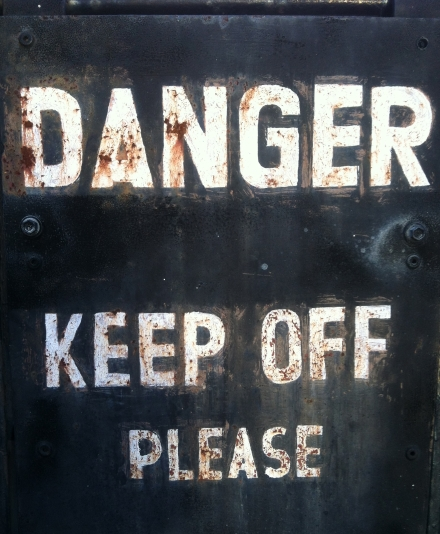 Transport Antique Vintage Danger Keep Off Sign Train Station Museum
