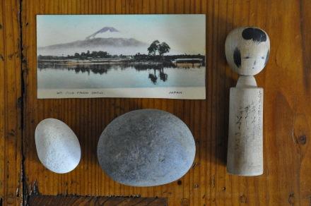 Japan Vintage Old Kokeshi Postcard Mt Fuji Stones