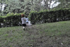 Kids Japan Kyoto Imperial Palace Garden Hedge