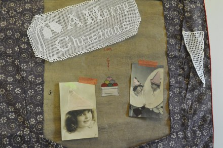 Merry Christmas Crochet Doyley Antique Postcards Children