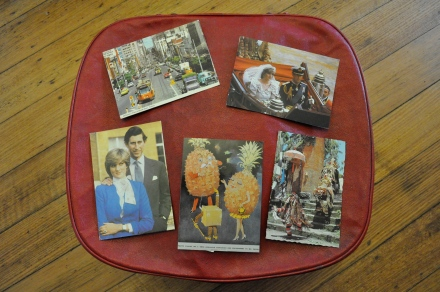 Childhood Postcards Treasures Travel Suitcase Vintage 1980s Royal Wedding Charles Diana London