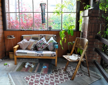 Outdoors Room Outside Autumn Fall Porch Garden Rug Couch Play Out Door