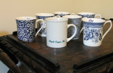 Single Origin Tea Better Sri Lanka Teacups Mugs Blue White Pattern