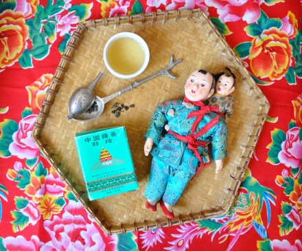 Chinese Lunar New Year Green Tea Vintage Doll Decor